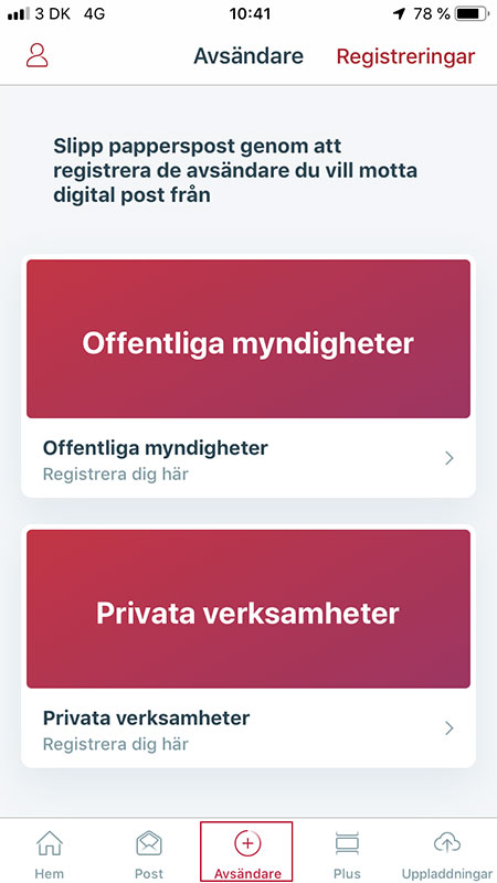Screenshot från app under Avsändare