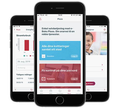Viser mobiler med e-Boks tjenester i appen.