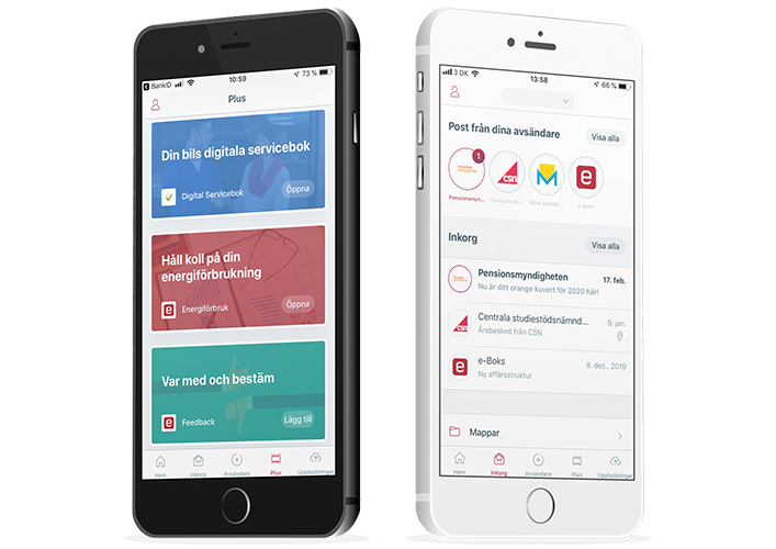 Mobiler med e-Boks appen